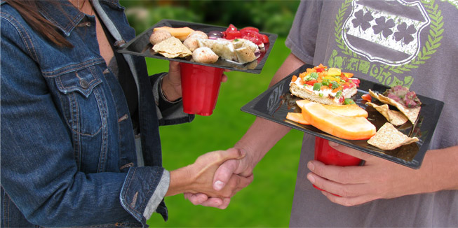 Handshake with Party Goer Plates & Party Goer Plate \u2014 The plate with a Built-in Cup Holder